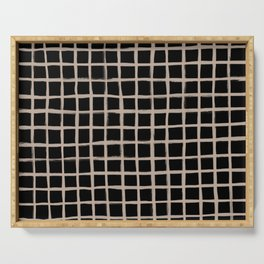 Strokes Grid - Nude on Black Serving Tray