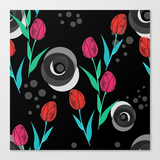 Abstract floral pattern tulips. Black background . Canvas Print