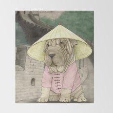 Shar Pei on the Great Wall (China) Throw Blanket