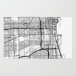 Chicago Map White Rug