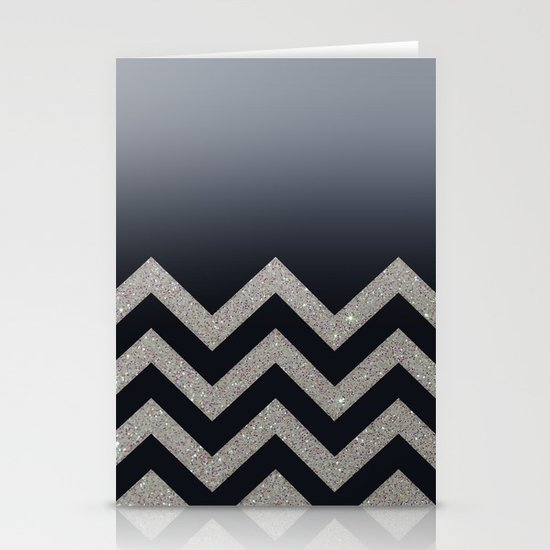 BLACK FADING SILVER CHEVRON Stationery Cards