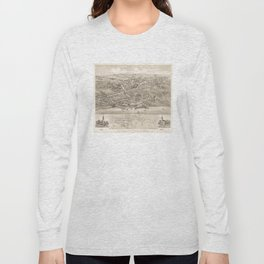Vintage Pictorial Map of Stratford CT (1882) Long Sleeve T-shirt