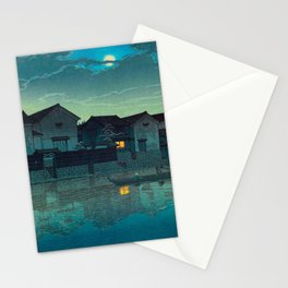 Kawase Hasui Vintage Japanese Woodblock Print Japanese Village Under Moonlight Cloudy Sky Stationery Cards