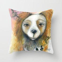 Dog Pinkie portrait with tree original art  Throw Pillow