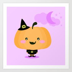 Halloween pumpkin in witch costume Art Print