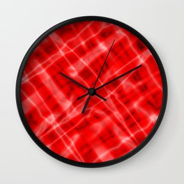 Pastel metal mesh with red intersecting diagonal lines and stripes. Wall Clock