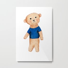 Teddy bear watercolor with blue shirt Metal Print