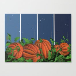 Pumpkin Patch at Night on Blues Canvas Print