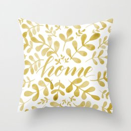 Watercolor home foliage – yellow Throw Pillow