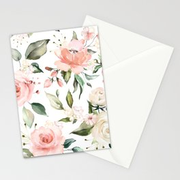 Watercolor Pink Peonies, Pink and White Roses and Greenery Stationery Cards