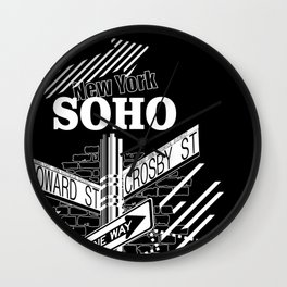 SoHo, New York Streets- white on black Wall Clock