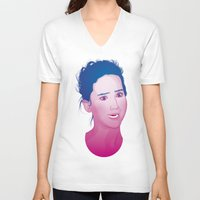 jennifer lawrence V-neck T-shirts featuring Funny face: Jennifer Lawrence by Esther Cerga