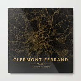 Clermont-Ferrand, France - Gold Metal Print
