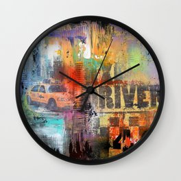 New York -Times Square and Taxi drivers #49 Wall Clock