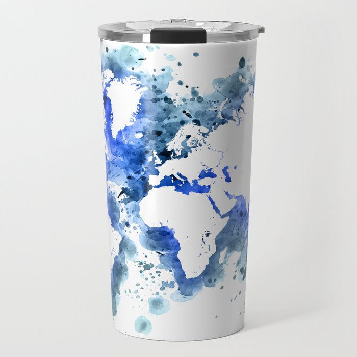 360 Degree World Map.Watercolor Splatters World Map In Blue Travel Mug By Blursbyaishop