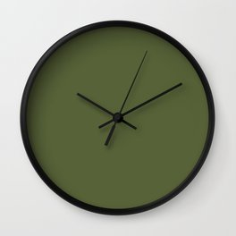 Dark Olive Green Solid Color Pairs To Sherwin Williams Inverness SW 6433 Wall Clock