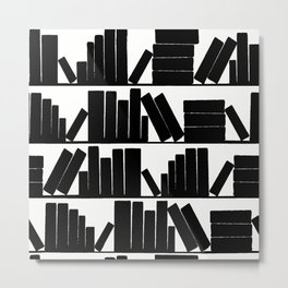 Library Book Shelves, black and white Metal Print