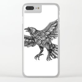 Raven Flying Up Geometric Mandala Tattoo Clear iPhone Case