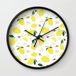 Lemons Blossoms and Bees Pattern Wall Clock