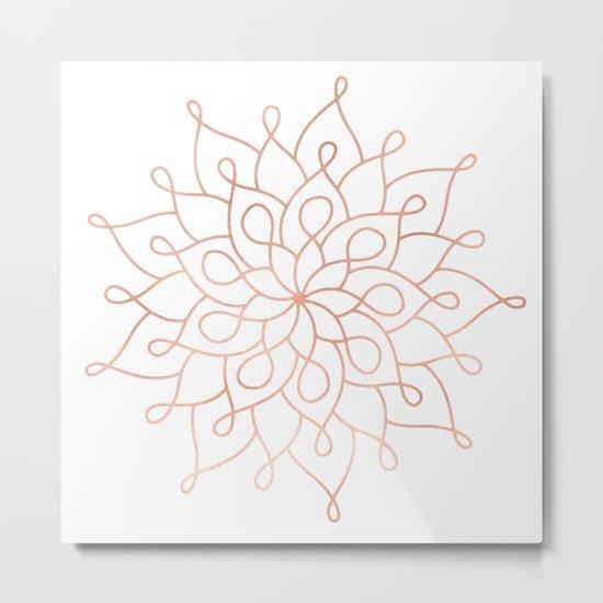 Mandala Rose Gold Pink Star Metal Print