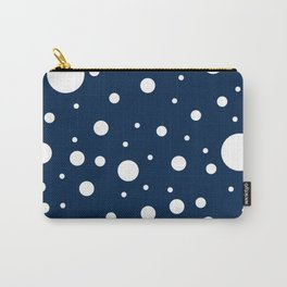 Mixed Polka Dots - White on Oxford Blue Carry-All Pouch
