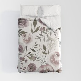 dusty rose floral watercolor Comforters