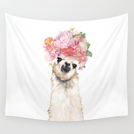 Llama with Beautiful Flowers Crown Wall Tapestry