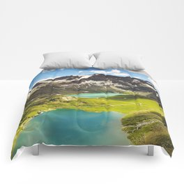 Italian Landscape Mountains and Lake Comforters