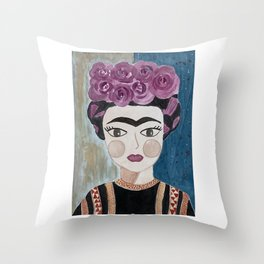 Little Frida Kahlo Throw Pillow