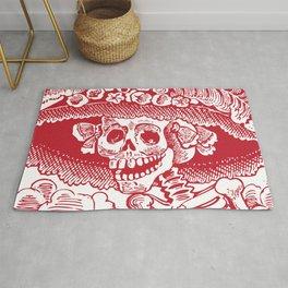 Calavera Catrina | Skeleton Woman | Red and White | Rug