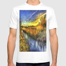 Sunset River Van Gogh Mens Fitted Tee MEDIUM White