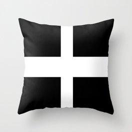 Saint Piran's Flag of Cornwall UK Throw Pillow