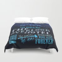 stephen king Duvet Covers featuring The World Was The Overlook Hotel - Stephen King Quote by Evie Seo