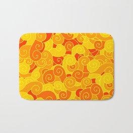 swirl pattern yellow orange Bath Mat