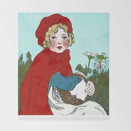 Little Red Riding Hood Painting Throw Blanket