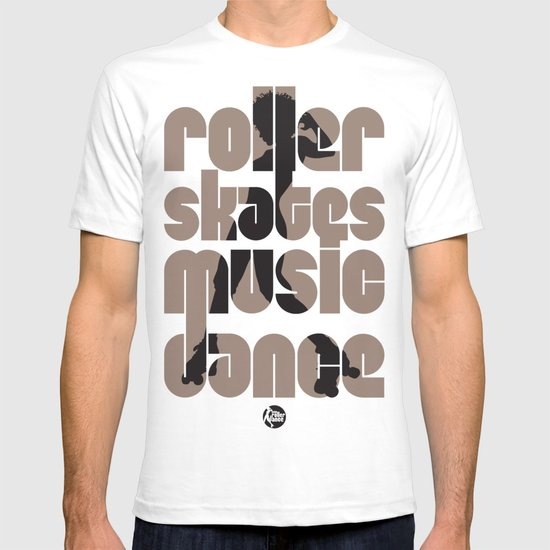 """Roller, skates, music, dance"" T-shirt"