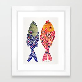 Indonesian Fish Duo – Navy & Coral Palette Framed Art Print