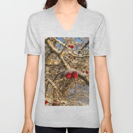 Frost sunny day somewhere in Russia Unisex V-Neck
