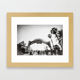 Santa Monica Pier Entrance Black N White Framed Art Print
