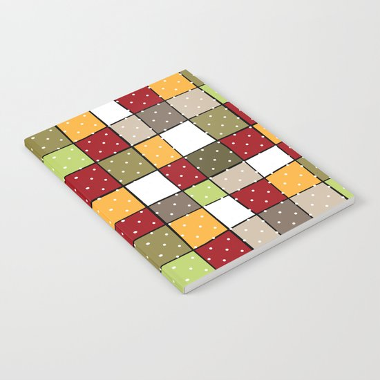 Retro . Squares with polka dots . Notebook