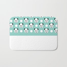 Panda polka dots pattern print minimal trendy kids design pillow cell phone cute panda cub character Bath Mat