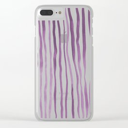 Vertical watercolor lines - purple Clear iPhone Case