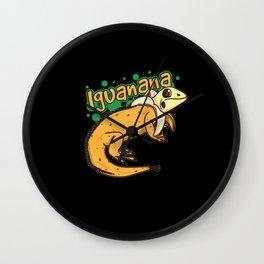 Iguanana Iguana Banana Design For Reptile Keepers Wall Clock