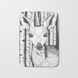 Ink and watercolor black and white doe/deer in the forest Bath Mat