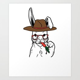 Rabbit Clipart Rabbit Line Art Bunny Wearing Glasses Hat and eating a Carrot Art Print