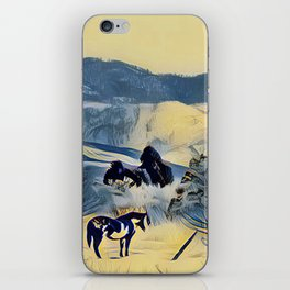 Indian Horse Pony Yellow Winter by CheyAnne Sexton iPhone Skin