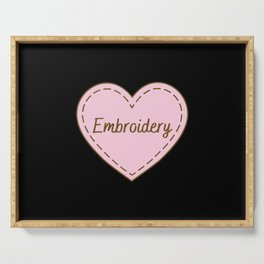 I Love Embroidery Simple Heart Design Serving Tray