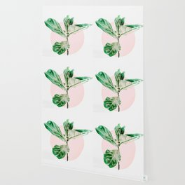 Fiddle leaf - pink pot II Wallpaper