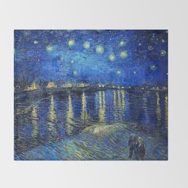 Starry Night Over the Rhone by Vincent van Gogh Throw Blanket