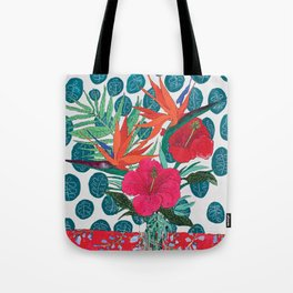 Tropical Bouquet in Living Coral and Emerald Green Tote Bag
